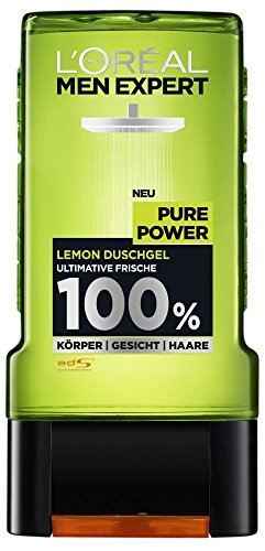 L'Oréal Men Expert Pure Power Lemon Duschgel, entfernt Unreinheiten und Schweiß, regeneriert die Haut ohne auszutrocknen, porentiefe Reinigung (2x 300ml)