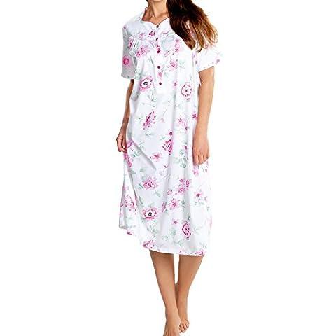 Cybele Damen Nachthemd kurzer Arm Länge 110 cm Größe 52 mit Knopfleiste Nachtwäsche
