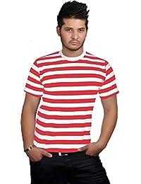 GirlzWalk Herren Gestreift Rot Schwarz Blau und Weiß Top Rundhalsausschnitt  Kurzarm Buch Woche T-Shirt 9af0528057