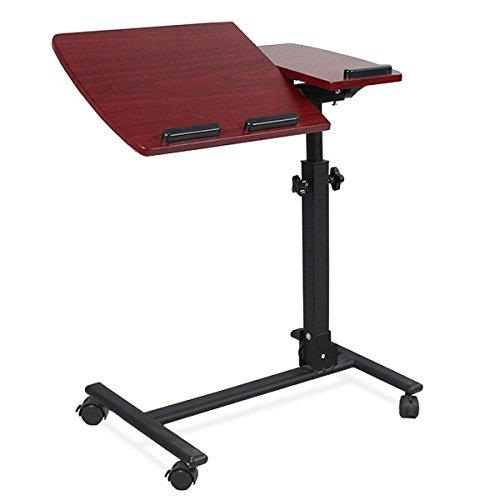 Yaheetech Pflegetisch Laptoptisch Betttisch Beistelltisch auf Rollen Verstellbar in Höhe + Neigung