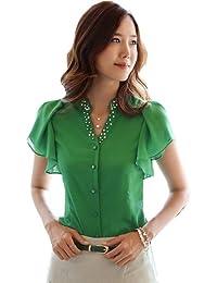 Dayiss®Chic Damenbluse OL Kurzarm V-Ausschnitt Hemdbluse T-shirts mit Nieten Business Tops in 2 Farben