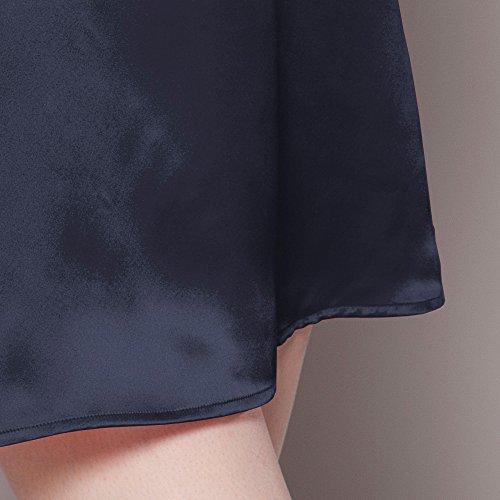 LILYSILK Camicia Da Notte Aderente Di 22 Momme Pura Seta Da Donna Con Collo V Blu-Marino