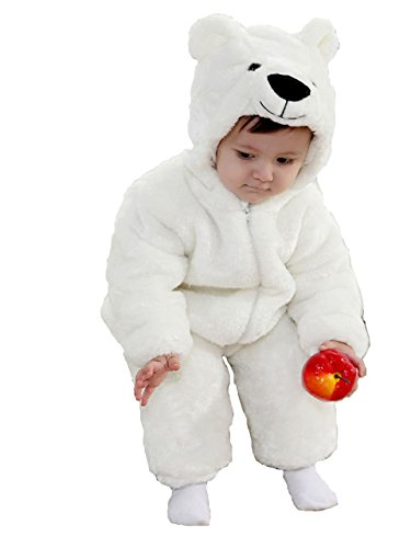 Polar Bear Animal Baby Kostüm 3-24 m Long Sleeve Flanell ONE PIECE BABY Kleidung Baby Strampler (Bear Baby Kostüm)