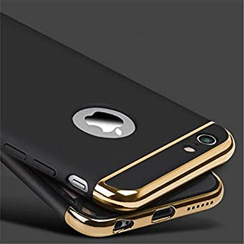 AUDOS *3-in-1 SHOCKPROOF* Dual Layer Thin Back Cover Case For Apple iPhone 5/5S/SE (Black with Gold)