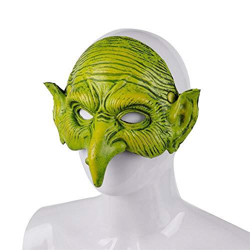 FUPOA Schaum Hexe Maske Halloween Karneval Festival Party Maske Cosplay Kostüm Grün Elf Scary Hexe Maske Party Requisiten, 01 (Men's Night Elf Kostüm)