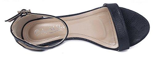 AgeeMi Shoes Femmes Sandales à Coin Ouvertes Bout Cheville-Sangle Chaussures Noir