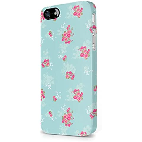 Baby Blue Vintage Floral Flowers Roses Pattern Pink Indie Tumblr Boho Apple iPhone 5 / iPhone 5s / iPhone SE Snap-On Hard Plastic Protective Shell Case Cover