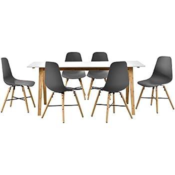 [en.casa] Design Esstisch mit 6 Stühlen weiß/Bambus / Grau