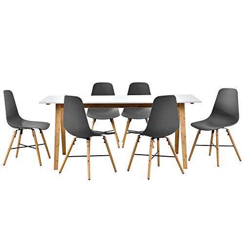 [en.casa] Design Esstisch mit 6 Stühlen weiß/Bambus / Grau (180x80cm) Sitzgruppe