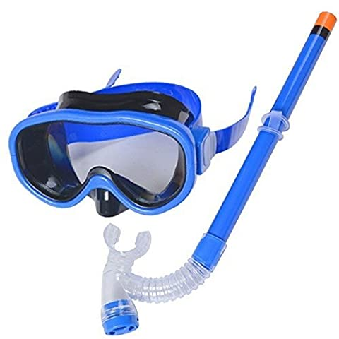 Cute Kid Enfant Bain Set de plongée masque tuba plongée Lunettes de natation anti-buée Bleu Bleu