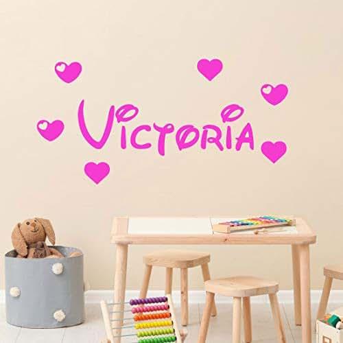 stickers mural pr nom disney avec 6 coeurs d coration mur chambre enfant b b 14 couleurs au. Black Bedroom Furniture Sets. Home Design Ideas