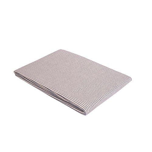 """Vaitkute 210021 Halbleinen Tischdecke """"Streifen"""" 140 x 140 cm, mit Briefecken, 50% Leinen und Baumwolle, 40 Celsius waschbar, 210 g / m2, weiß / blau gestreift"""