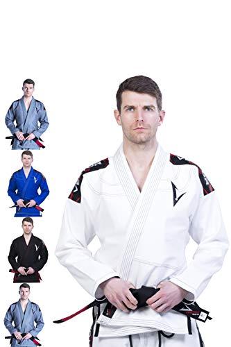 Kimono Vector Attila Series de Jiu Jitsu con cinturón blanco, ligero, 100% algodón, A1, Blanco