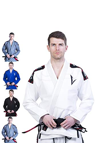 Vector Brazilian Jiu Jitsu BJJ Gi Kimono with FREE White Belt Lightweight  Preshrunk Pearl Weave 100% Cotton Fabric Attila Series (White, A3)