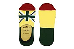 The Tie Hub Mens Cotton Union Jack Army Green Loafer Socks
