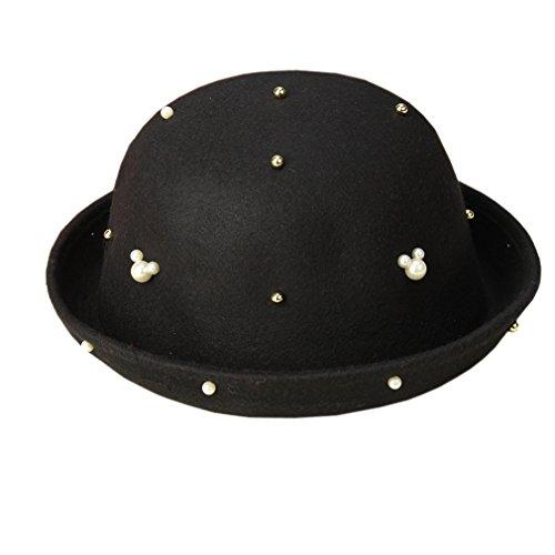 ACVIP Femme Mode Chapeau Melon Feutre Bonnet Pêcheur Hiver avec Imitation Perle Décoration Noir