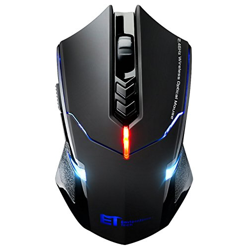 TOPELEK Laptop Maus, Mute-Maus 2.4 G 2400 DPI, 7 Tasten, Drahtlose Maus Silent  Schnurlos Funkmaus Gaming Maus Funk Wireless-maus Optical Business Mouse Mäuse Für PC Laptop iMac Macbook, Office, Home (Led-lichter Blinkt Die)