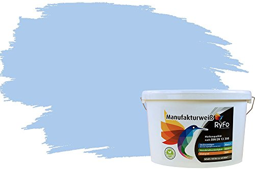 RyFo Colors Bunte Wandfarbe Manufakturweiß Südseeblau 10l - weitere Blau Farbtöne und Größen erhältlich, Deckkraft Klasse 1, Nassabrieb Klasse 1