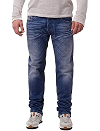 Diesel Men's Safado 0826A Faded Worn Look Regular Slim Straight Jeans Blue