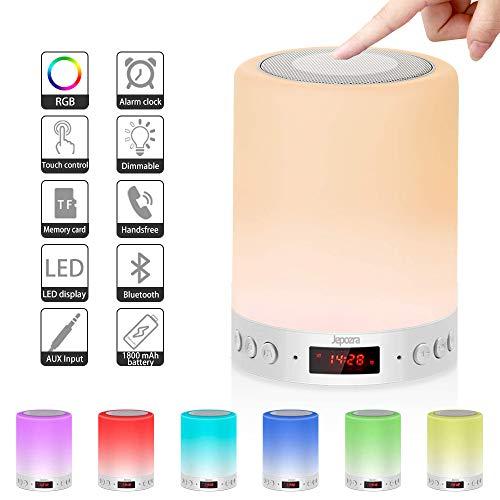 Lamparas de Mesita de Noche, Lámpara de Mesa con Altavoz Bluetooth, Brillo Ajustable y 7 Variaciones...