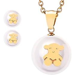 Joyas de perlas de titanio de acero Stud Pendientes collar Set Pendientes + Accesorios