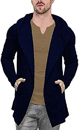 Veirdo Men's Cotton Blend Hooded Cardigan Casual wear, Party wear (Small, Navy Blue)