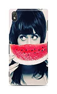 Amez designer printed 3d premium high quality back case cover for Sony Xperia Z3 (Girl with Watermelon)