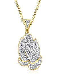 "Silvernshine 14K Yellow Gold Fn 925 1.30 Ct Round D/VVS1 Diamond Praying Hand Pendant 18"" Chain"