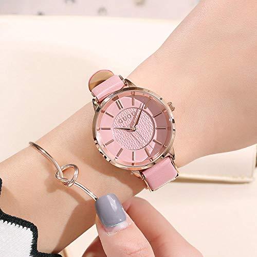 Mode Uhr Neue Einfache Schattierung Skala Temperament Damen wasserdichte Gürtel Uhr Rose Gold Pulver