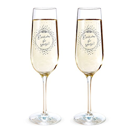 Amavel set 2 calici da spumante con incisione - evviva gli sposi! - cuoricini - flute da champagne - idee matrimonio - regali romantici per coppie - degustazione - accessori casa - decorazioni nozze