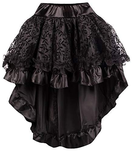 r-Dessous Damen Rock schwarz Burleske Victorian Gothic Steampunk Skirt Corsage Chiffon Übergrößen Vintage Groesse: 6XL/ 8XL