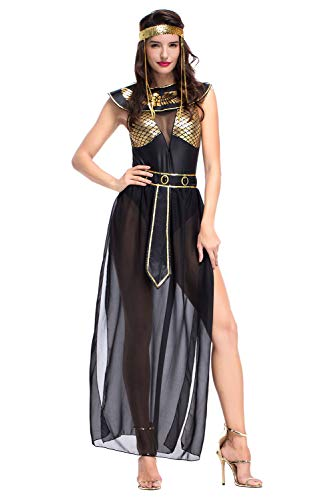 Fortunezone Sexy Griechische göttin kostüm, Ägypterin Kostüm Königin Ägypten Frauenkostüm für Karneval Halloween Fasching Lang Damen XL (Sexy Kostüm Ägypten)