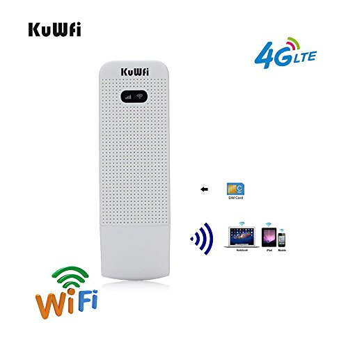 LTE Surfstick, KuWFi 100Mbps 4G LTE beweglicher Wifi Fräser 4G / 3G / 2G USB WiFi Fräser Mobiler drahtloser Netz-Hotspot mit SIM Einbauschlitz Unterstützung FDD B1 / B3 / B5 / B7 / B8 / B20 im Freien und Innen auf dem Bus oder im Auto (SIM Karte nicht eingeschlossen, Müssen Sie in lokalen kaufen) Unlocked Mobile