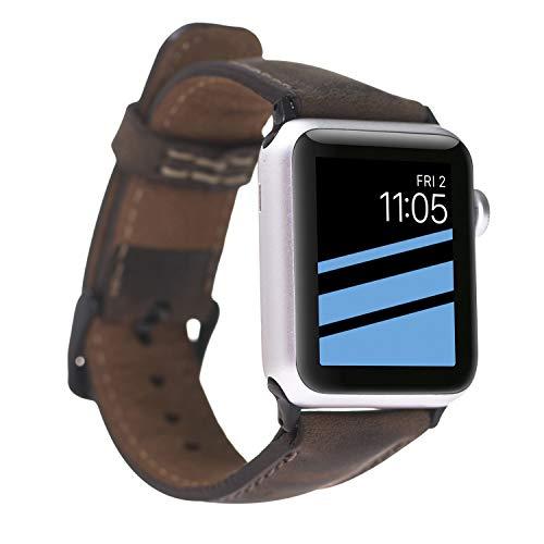 FREDO kompatibel Apple Smart Watch Series 1 / Series 2 / Series 3 / Series 4 Watch Echtleder Vintage Braun Armband (42 mm / 44 mm) mit Passendem Uhrenadapter Schwarz Connector (Smart Watch Von Apple)