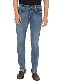Flying Port Men's Cotton Lycra Blue Fadded Style Jeans