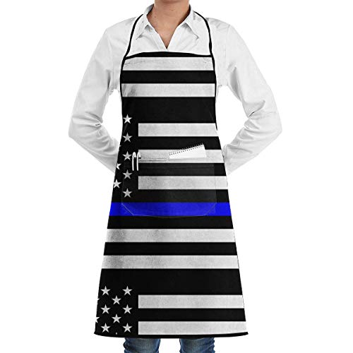 Imagen de drempad delantal de cocina, thin blue line blue lives matter flag.png adjustable bib apron pockets home kitchen garden restaurant cafe bar pub bakery for cooking chef baker servers craft unisex