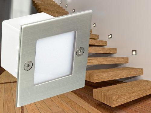 LED WAND EINBAU-LEUCHTEN, Treppen-Leuchte, Stufenbeleuchtung Piko B04 in Edelstahl gebürstet, 230V IP-54 warm-weiß [IHR VORTEIL: tolle LICHTQUALITÄT feinste VERARBEITUNG schneller EINBAU] [Unter- & Einbauleuchten]