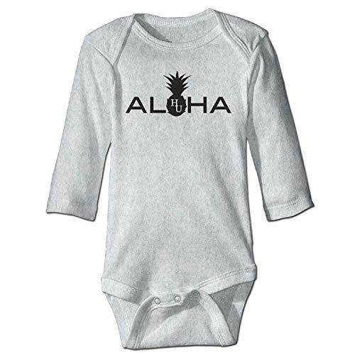 MSGDF Unisex Infant Bodysuits Aloha Crewneck Baby Babysuit Long Sleeve Jumpsuit Sunsuit Outfit Ash -