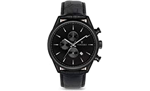 Vincero Luxury Men's Chrono S Wrist Watch - Matte Black with Black Leather Watch Band - 43mm Chronograph Watch - Japanese Quartz Movement
