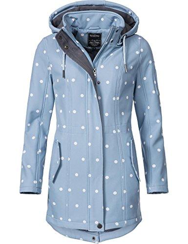 Peak Time Damen Übergangs-Mantel Softshell L60013 Hellblau/Weiß gepunktet Gr. S