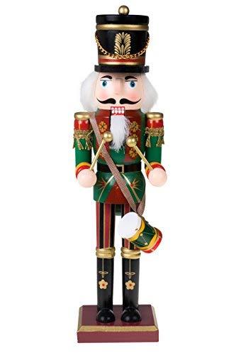 Clever Creations - Traditioneller Nussknacker-Soldat mit Trommel - Sammlerstück - Festliche Weihnachtsdeko - 100{6b99c27d92b713e5d45cc9f89f7ad630b5eb80223bd7c8985e43120356c91c22} Holz - grüne Uniform - 30,5 cm