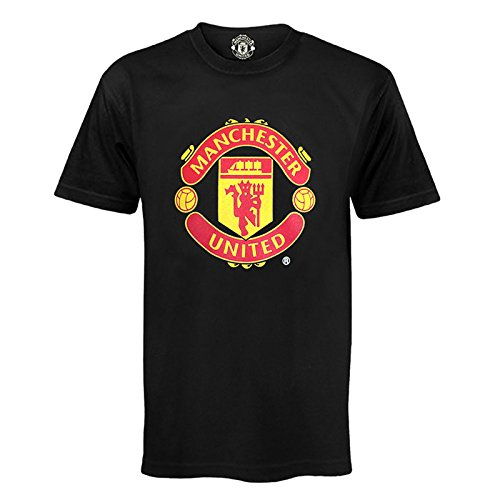Manchester United FC Herren Polo-Shirt mit originalem Fußball-Wappen - Geschenk - Schwarz - M -