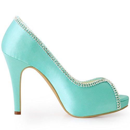 ElegantPark EP11083-IP Escarpins Femme Satin Bout Ouvert Aiguille Plateforme Diamant Chaine Chaussures de mariee Bal Menthe