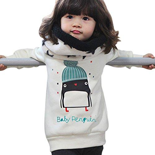 Doubleer Kinder Mädchen Sweatshirts Infant Kleinkind Langarm Weiß Hoodie Fleeces Tops Für 0-3 Jahre (7-fleece-crewneck Top)