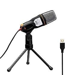 Tonor Kondensator-Mikrofon mit USB Schnittstelle Schall Podcast Studio Microphone für PC Laptop Computer - einfaches Plug and play Schwarz