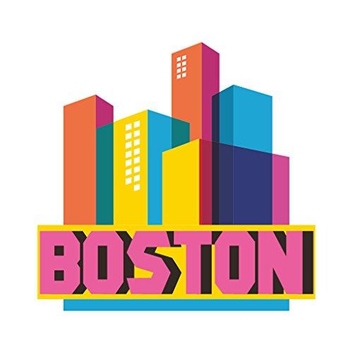 Preisvergleich Produktbild 2x Boston Skyline vinyl Aufkleber Reise Gepäck # 10313 - 10cm/100mm Wide