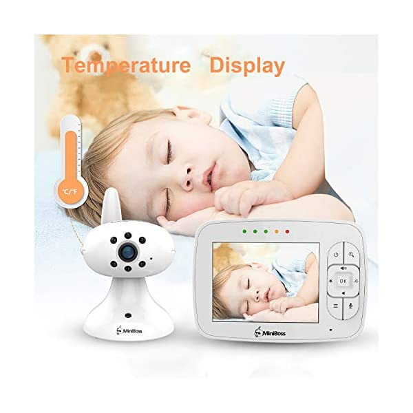 """MiniBoss Baby Monitor with Camera Video Audio Monitor 3.5"""" LCD Screen Temperature Sensor Night Vision Lullaby Two-Way Talk  【Wireless & Secure Connection】The baby monitor equipped with 2.4GHz digital frequency provides security and interference-free connection without any network access. 【Upgraded Camera & VOX Function】The video baby monitor offer high definition and stable audio video streaming to last 7 hours per fully charged. It covers a long distance transmission range of up to 960 feet, and expandable up to 4 cameras for simultaneous monitoring. 【Two-way Talk & Lullabies】The audio baby monitor has advanced built-in microphone and speaker for clear two-way audio conversations between the wireless monitor and camera sides. Allows you to talk back promptly or play lullabies to soothe baby when she is crying. 4"""