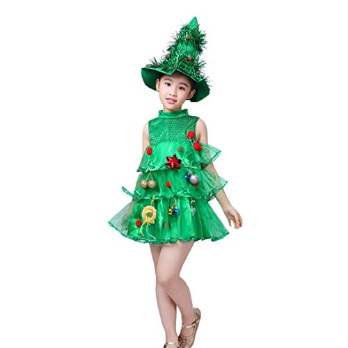 üm Kleider, DoraMe Baby Mädchen Weihnachtsbaum Kleid O Hals Tops Party Kleid + Hut Outfits (Grün, 7 Jahr) (Halloween-kostüme Für Mollige Mädchen)