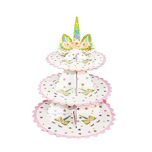 HSINCERELY Einhorn Cupcake Ständer Einhorn Geburtstag Einhorn Party Einhorn Einhorn Einweg Tortenständer Geburtstagsparty Tortenständer Einhorn Baby Dusche Einhorn Einhorn1 pcs 38.5*29.5