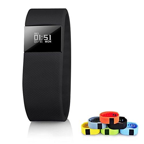 Fitness Tracker tw64 Smart Watch topbest Bluetooth Armband Call erinnern Fernbedienung Selbstauslöser Smart Band Kalorienzähler Wireless Schrittzähler Sport Sleep Monitor für Android iOS Handy,schwarz (Datum Medikament)